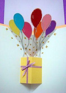 Lin Handmade Greetings Card: Pop up gift box and balloons!
