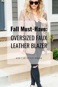 Faux Leather Blazer + Black Denim. | Le Stylo Rouge