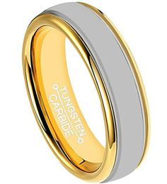6mm Tungsten Rings for Polish 18K Gold Plated Comfort Fit Wedding Band