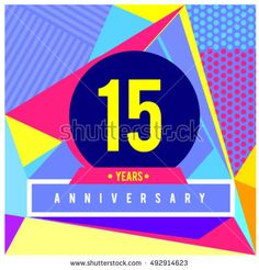15th years greeting card anniversary with colorful number and frame. logo and icon with Memphis style cover and design template. Pop art style design poster and publication.