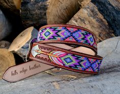 Beautiful bright beaded inlaid belt bordered by… Foto Cowgirl, Cowgirl Belts, Western Belts, Custom Leather Belts, Leather Jewelry, Beaded Jewelry, Beaded Belts, Handmade Leather, Vintage Leather