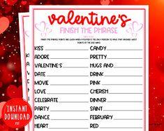 Valentine party game, MASH game, Valentine printable games, Galentine's day, teen valentine party, Instant download