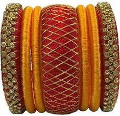 Bangle set made of silk Silk Thread Earrings Designs, Silk Thread Bangles Design, Silk Thread Necklace, Silk Bangles, Bridal Bangles, Thread Jewellery, Necklace Designs, Gold Necklace, Diy Necklace Making