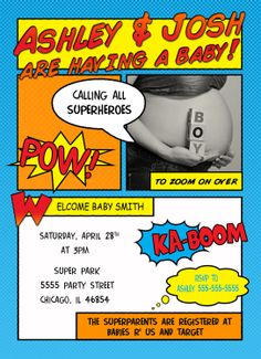 Comic Superhero Baby Shower Invitation. $15.00, via Etsy.