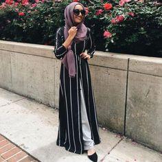 long open black cardigan hijab- Hijab fashion inspiration http://www.justtrendygirls.com/hijab-fashion-inspiration/