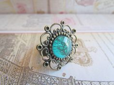 Teal green botanical tree ring with lace by pinkdiamonddesign, $12.50