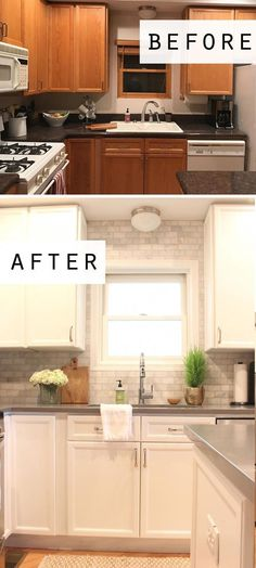 Cottage style before and after kitchen makeover featuring white cabinets, quartz. Cottage style before and after kitchen makeover featuring white cabinets, quartz countertops, and a marble subway tile backsplash up to the ceiling White Kitchen Cabinets, Kitchen Countertops, Quartz Countertops, Kitchen White, Kitchen Backsplash, Backsplash Ideas, Dark Cabinets, Country Kitchen, Kitchen Small