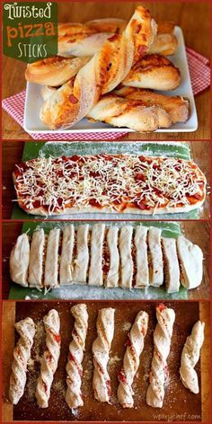 Twisted Pizza Breadsticks – The Weary Chef Twisted Pizza Sticks: Great for dinner or a party snack! I Love Food, Good Food, Yummy Food, Appetizer Recipes, Snack Recipes, Cooking Recipes, Pizza Recipes, Pillsbury Pizza Crust Recipes, Easy Cooking
