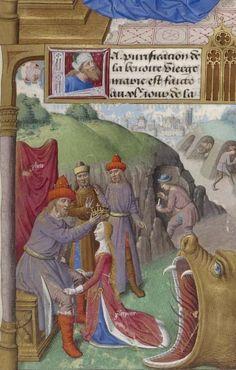 Bibliothèque nationale de France, Français 244, detail of f. 76r (Crowning of Proserpine). Jacobus de Voragine, Legenda aurea. Paris, c.1480-1490. Artist: Jacques de Besançon.