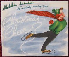 Vintage Christmas Card Ice Skater Pop Motion Unused Greeting