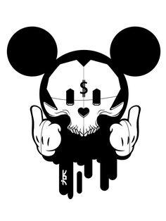Mickey Mouse Capital Trippy Drawings, Graffiti Drawing, Cool Art Drawings, Art Drawings Sketches, Graffiti Art, Tattoo Drawings, Drugs Art, Mickey Mouse Art, Sketch Tattoo Design