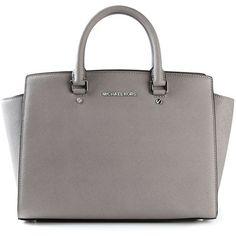 Michael Michael Kors Large Selma Satchel Bag ($390) ❤ liked on Polyvore featuring bags, handbags, grey, gray tote, grey handbags, grey purse, handbags totes and grey tote bag