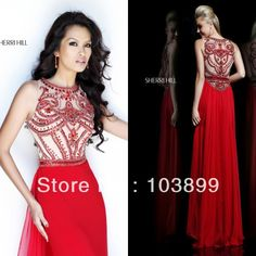 Euro Type A-line High Neck Crystals Beaded Red Chiffon Floor Length Modest Prom Dresses Long 2014 Best $159.00