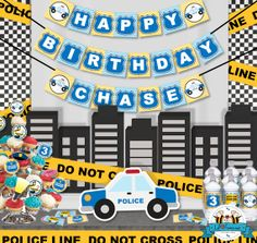 Police Birthday Party Package  Personalized by LilFacesPrintables, $35.00