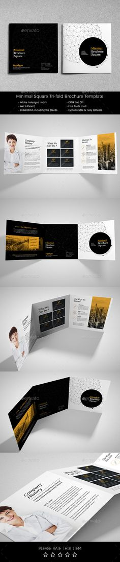 Minimal Square Tri-fold Brochure Template #design Download: http://graphicriver.net/item/minimal-square-trifold-brochure/12480902?ref=ksioks