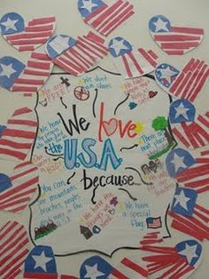 also can be adapted for older grades, listing 100 reasons why I'm glad I'm American.  very interesting  replies..We love the USA because... Writing activity