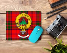 Rubber mousemat with Grant clan crest and tartan - only from ScotClans