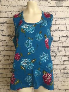 37423278cb0 Basic Editions 2X Blue Teal Sleeveless Plus Size Floral Beads Pullover Tank  Top  BasicEditions  TankTop  Casual