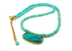 Turquoise pendant Gold filled necklace-Top fashion color Pyrite beaded necklace-Howlite Turquoise gold Vermeil pendant,Blue Turquoise gift by IgnisDesignStudio on Etsy