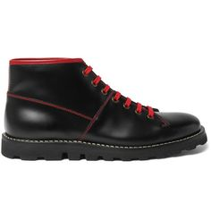 PRADA Contrast-Stitched Spazzolato Leather Boots. #prada #shoes #boots