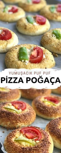 Don't miss this recipe - puff puff pastries in the flavor of pizza with fluffy dough :] the Turkish Recipes, Ethnic Recipes, Bulgur Salad, Mini Pizza, Grilled Pizza, Donuts, Salty Snacks, Best Breakfast Recipes, Bread And Pastries