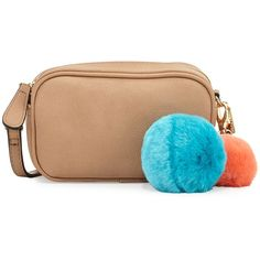 Neiman Marcus Pompom Zip-Top Crossbody Bag ($22) ❤ liked on Polyvore featuring bags, handbags, shoulder bags, taupe, zip top purse, crossbody purse, taupe handbag, beige purse and beige shoulder bag