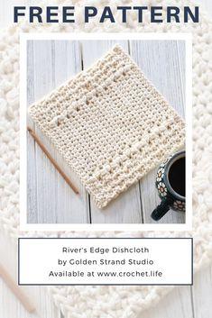DIY crochet dishcloth pattern by GoldenStrandStudi.life - River's Edge Dishcloth You ar Crochet Kitchen, Crochet Home, Crochet Gifts, Free Crochet, Irish Crochet, Crochet Edging Patterns, Knitting Patterns Free, Wash Cloth Crochet Pattern, Free Pattern