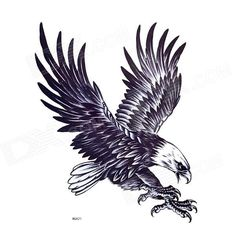 YIMEI MQA21 Eagle Pattern Tattoo Paper Sticker for Men - Blue Black