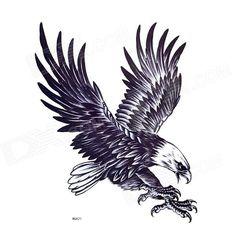 YIMEI MQA21 Eagle Pattern Tattoo Paper Sticker for Men - Blue Black