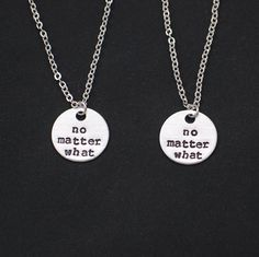 2 best friends necklaces, no matter what necklace set of two, bff necklace,mother daughter,friendship jewelry,sisters necklace long distance