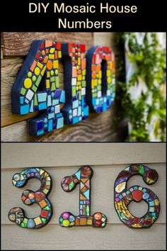 How To Make Mosaic House Numbers (The Easy Way!)How To Make Mosaic House Numbers (The Easy Way!)Vertical mosaic house number on slateVertical mosaic house number on ideas for creative house numbers to Mosaic Garden Art, Mosaic Tile Art, Mosaic Artwork, Mosaic Glass, Stained Glass, Glass Art, Pebble Mosaic, Mosaic Mirrors, Fused Glass