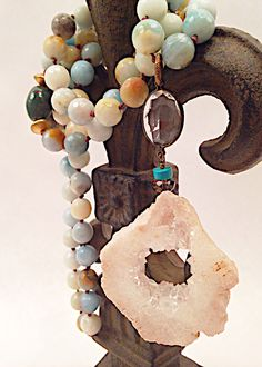 Amazonite Knotted Agate Necklace with Vintage Crystal Accent