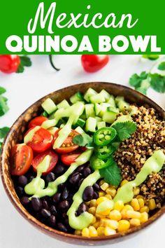 This nutritious vegan Mexican Quinoa Bowl features a deliciously creamy avocado salsa and Tricolor Quinoa from Bob's Red Mill. Mexican Quinoa, Vegetarian Mexican, Vegetarian Recipes Dinner, Good Healthy Recipes, Mexican Food Recipes, Fast Recipes, Vegan Recipes, Vegan Food, Healthy Meals