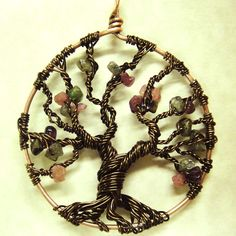 Wire Wrapped Amethyst Tree of Life or Bonsai Tree Pendant in Antique