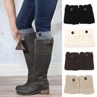 Geek | Fashion Women Hollow Crochet Knitted Button Cover Boot Socks Leg Warmers Toppers Accessories