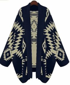 Navy Batwing Long Sleeve Geometric Cardigan Sweater pictures