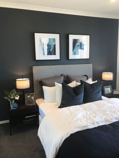 Today I have put together a collection of inspiring master bedroom ideas with beautiful color schemes that will create visual interest, comfort and warmth. Blue And Gold Bedroom, Dark Gray Bedroom, Modern Grey Bedroom, Dark Blue Bedrooms, Blue Master Bedroom, Grey Bedroom Decor, Master Bedroom Design, Home Bedroom, Master Bedrooms