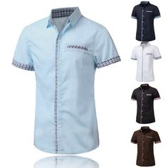 Camisa de vestir de manga corta de cuadros rejilla hechizo color de moda para hombre