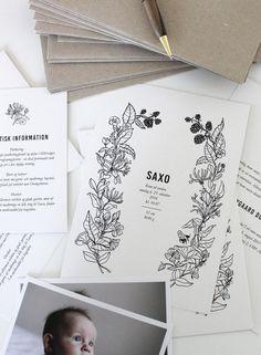 Invitations for naming celebration designed by Anja Mulder, via Scandinavian Love Song