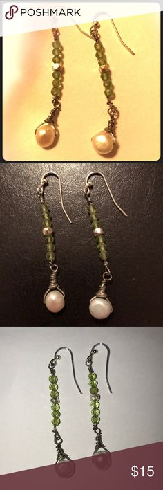 Beautiful handmade peridot and pearl earrings! Handmade locally in Eugene, Oregon, these beautiful freshwater pearl earrings are adorned with peridot and silver beads. Perfect spring and Easter colors! Custom orders possible, let us know! Jewelry Earrings