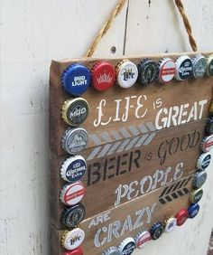 Hand painted bar sign - reclaimed wood sign - beer sign - unique mixed bottle caps -rustic decor - father's day gift by RecycliciousByBrandy on Etsy Beer Cap Art, Beer Bottle Caps, Bottle Cap Art, Beer Bottles, Beer Cap Crafts, Diy Bottle Cap Crafts, Bud Light, Bottle Cap Projects, Paint Bar
