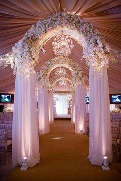 A floral arch as a wedding aisle decor. Isn't it beautiful? Wedding Themes, Wedding Designs, Wedding Events, Wedding Ceremony, Wedding Arches, Wedding Entrance, Uplighting Wedding, Perfect Wedding, Dream Wedding