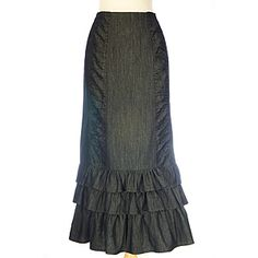 Wear this stylish skirt with confidence.  Totally feminine and quite versatile with ruched panels and graceful ruffles.