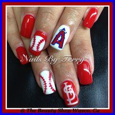 Angels and St. Louis baseball nails, gel nails