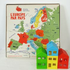puzzle vintage Fernand Nathan Europe // wooden puzzle in french