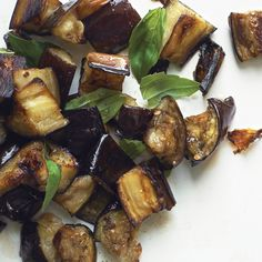 Roasted eggplant with basil (side dish). This dish goes well with grilled chicken or fish, or toss with pasta.