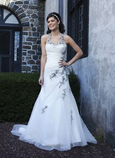 Traditional A-line Organza and Lace Wedding Dress with Black Accent