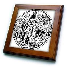 Sandy Mertens Halloween Food Designs - Halloween Scarecrow Line Art - Framed Tiles :           Halloween Scarecrow Line Art Framed Tile is measuring 8w x 8h x .75d. Made of solid wood with predrilled keyhole for easy wall mounting. Framed tile comes with 6w x 6h ceramic gloss tile attached to the wood frame.                           **Read more Details : http://gethotprice.com/appin/?t=B004385E2Y