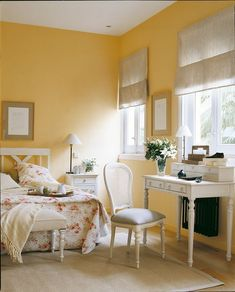 Chalky yellow wall paint colour with antique white furniture. Great yellow wall colour design ideas for your room Bedroom Chalky Yellow Paint with White Antique Furniture Yellow Walls, Yellow Bedroom Decor, Wall Painting Living Room, Bedroom Interior, Living Room Decor, Room Decor, Yellow Painted Walls, Yellow Room, Yellow Living Room