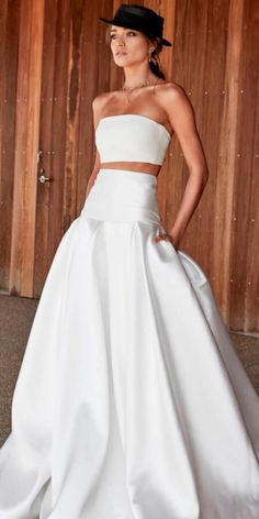 On Trend: 24 Bridal Separates - Breaking The Rules ❤ breaking the rules bridal separates simple trendy strapless neck a line skirt chosen by one day ❤ See more: http://www.weddingforward.com/breaking-the-rules-bridal-separates/ #weddingforward #wedding #bride #bridalgown